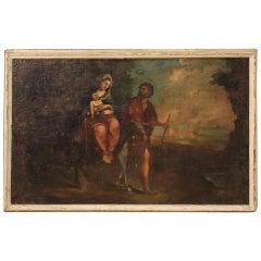 18th Century Oil on Canvas Italian Religious Painting Flight into Egypt, 1780