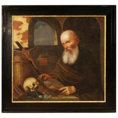 18th Century Oil on Canvas Italian Religious Painting Friar with Books, 1720