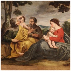 18th Century Oil on Canvas Italian Religious Painting Holy Family, 1720