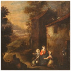 18th Century Oil on Canvas Italian Religious Painting Madonna and Child, 1710