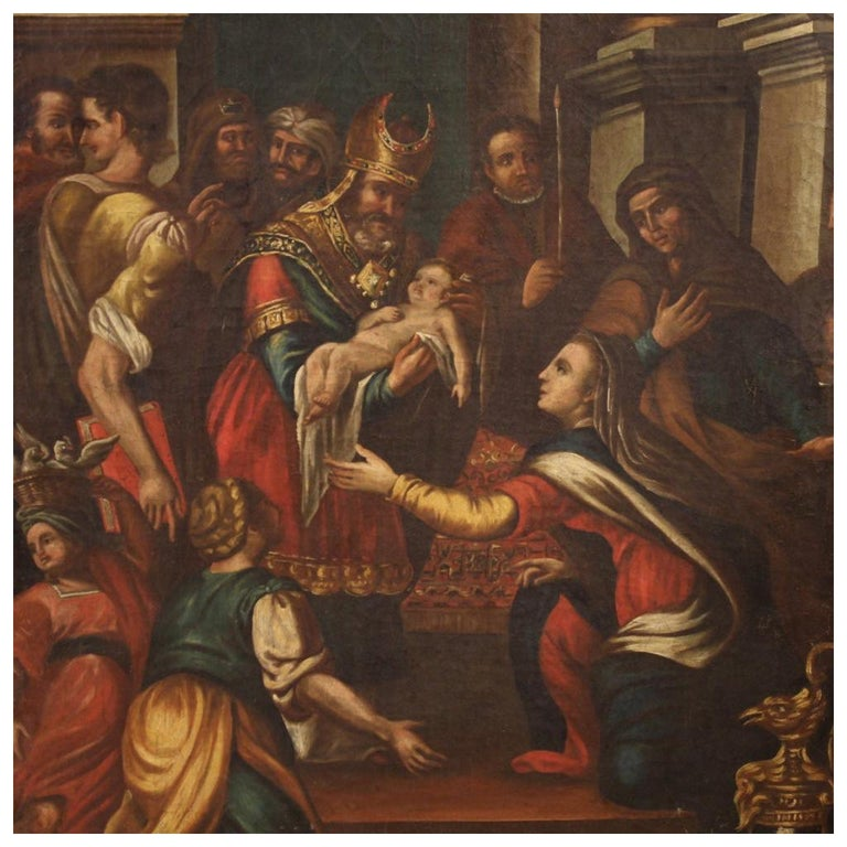 18th Century Oil on Canvas Italian Religious Painting Presentation in the  Temple