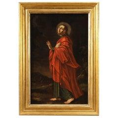 18th Century Oil on Canvas Italian Religious Painting Saint, 1720