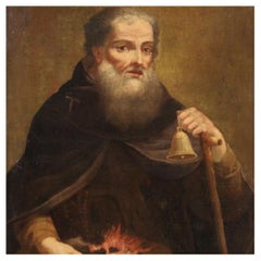 18th Century Oil on Canvas Italian Religious Painting Saint Anthony Abbot, 1750