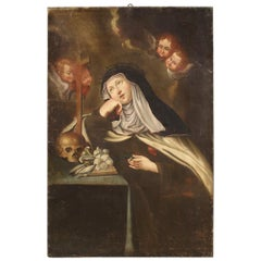18th Century Oil on Canvas Italian Religious Painting Saint Catherine, 1720