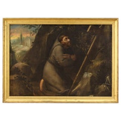 18th Century Oil on Canvas Italian Religious Painting Saint Francis, 1720