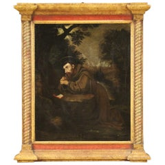18th Century Oil on Canvas Italian Religious Painting Saint Francis, 1720