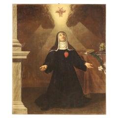 18th Century Oil on Canvas Italian Religious Painting Saint in Ecstasy, 1750