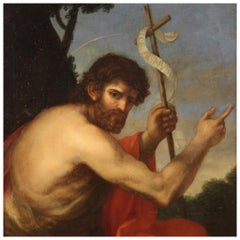 18th Century Oil on Canvas Italian Religious Painting Saint John the Baptist