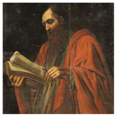 18th Century Oil on Canvas Italian Religious Painting Saint Paul Apostle, 1730