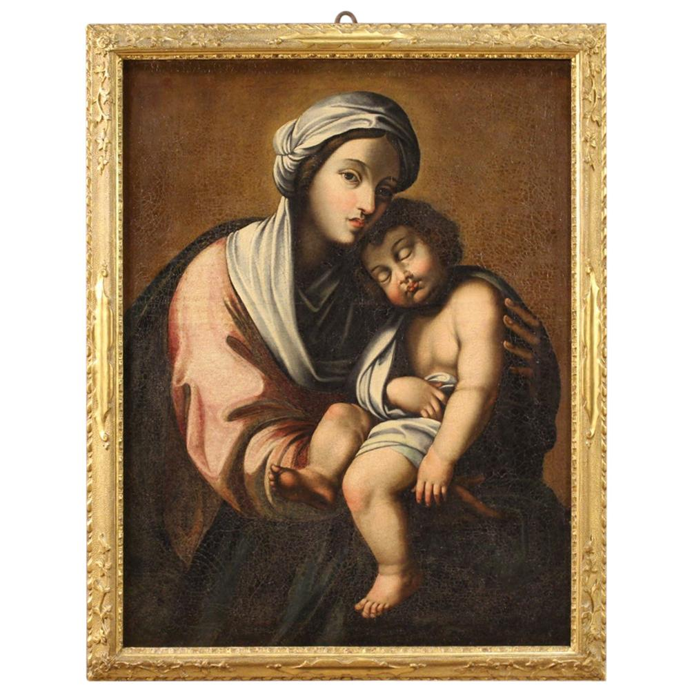 18th Century Oil on Canvas Italian Religious Painting Virgin with Child, 1720