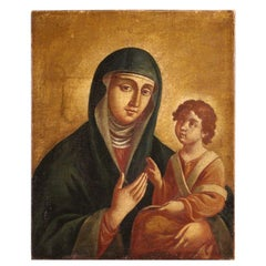 18th Century Oil on Canvas Italian Religious Painting Virgin with Child, 1770