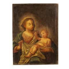 18th Century Oil on Canvas Italian Religious Painting Virgin with Child, 1780