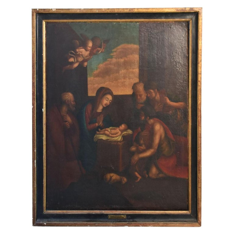 18th Century Oil on Canvas Italian School  For Sale