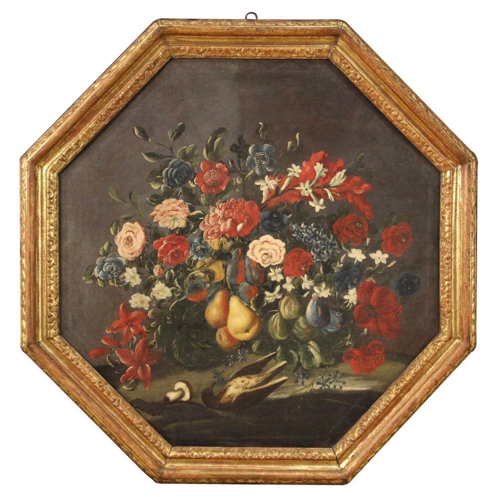 18th Century Oil on Canvas Italian Still Life Painting, 1750