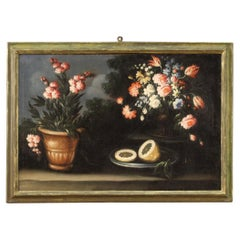18th Century Oil on Canvas Italian Still Life Painting, 1750