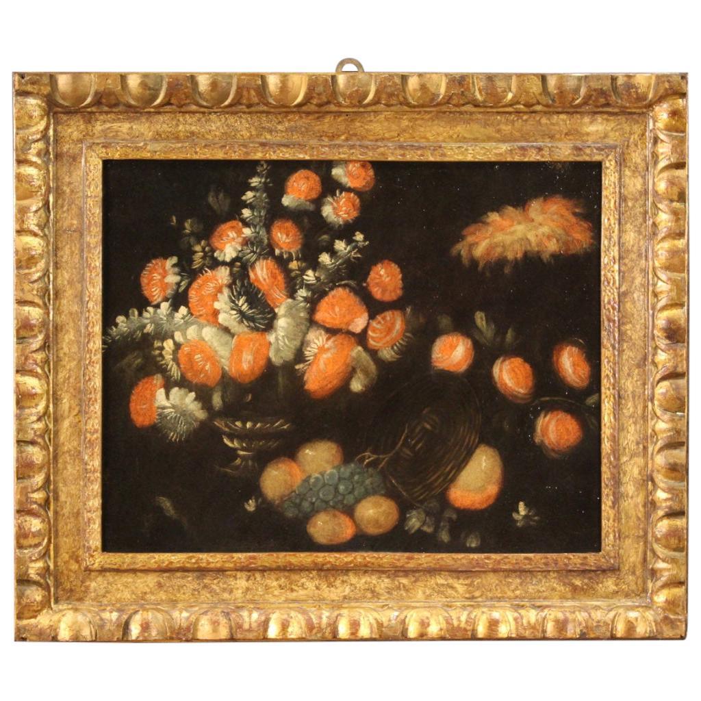 18th Century Oil on Canvas Italian Still Life Painting Vase with Flowers, 1730