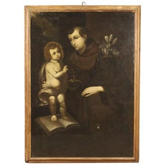 18th Century Oil on Canvas Religious Italian Antique Painting Saint Anthony