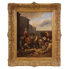 18th Century Oil on Panel Flemish Genre Scene Painting, 1770
