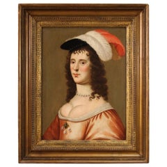 18th Century Oil on Panel Flemish Painting Portrait of a Lady, 1720