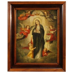 18th Century Oil on Panel Flemish Religious Painting Virgin with Angels, 1780