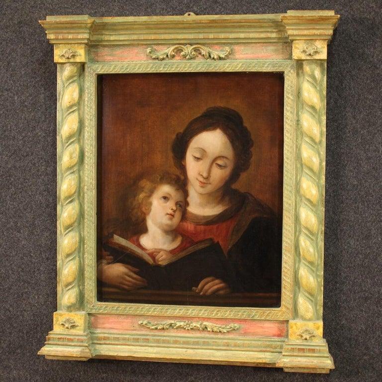 18th Century Oil on Panel Italian Religious Painting Virgin Mary, 1720 6