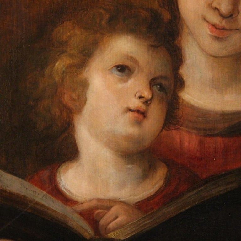 Wood 18th Century Oil on Panel Italian Religious Painting Virgin Mary, 1720