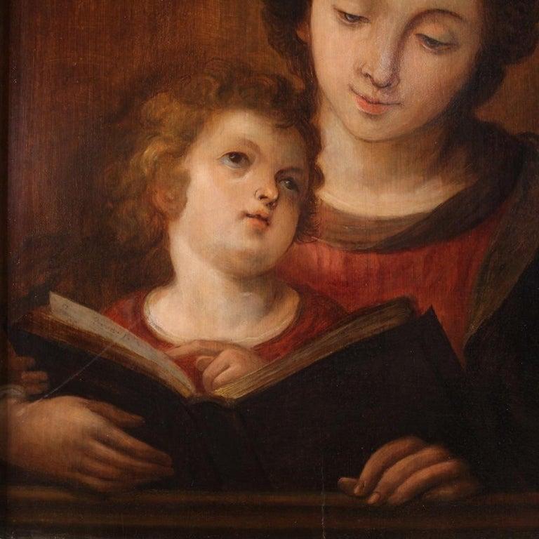18th Century Oil on Panel Italian Religious Painting Virgin Mary, 1720 2