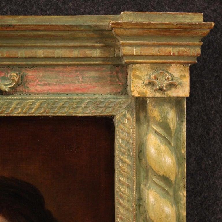 18th Century Oil on Panel Italian Religious Painting Virgin Mary, 1720 3