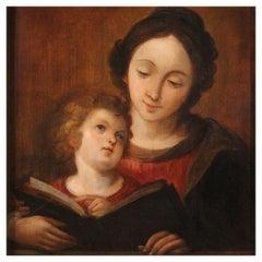 18th Century Oil on Panel Italian Religious Painting Virgin Mary, 1720