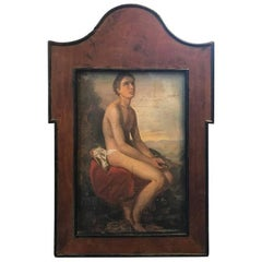 19th Century Oil on Tin of a Youthful Young Man