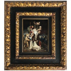 18th Century Oil Painting of the Crucifixion of Christ