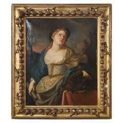 18th Century Oil Painting on Canvas Coeval Frame Allegory of Music