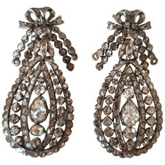 18th Century Old Cut Diamond Gold and Silver Drop Earrings