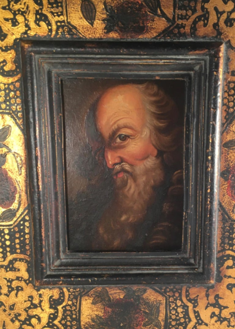 18th Century Old Master Portrait Oil Painting in Renaissance Revival Frame For Sale 4