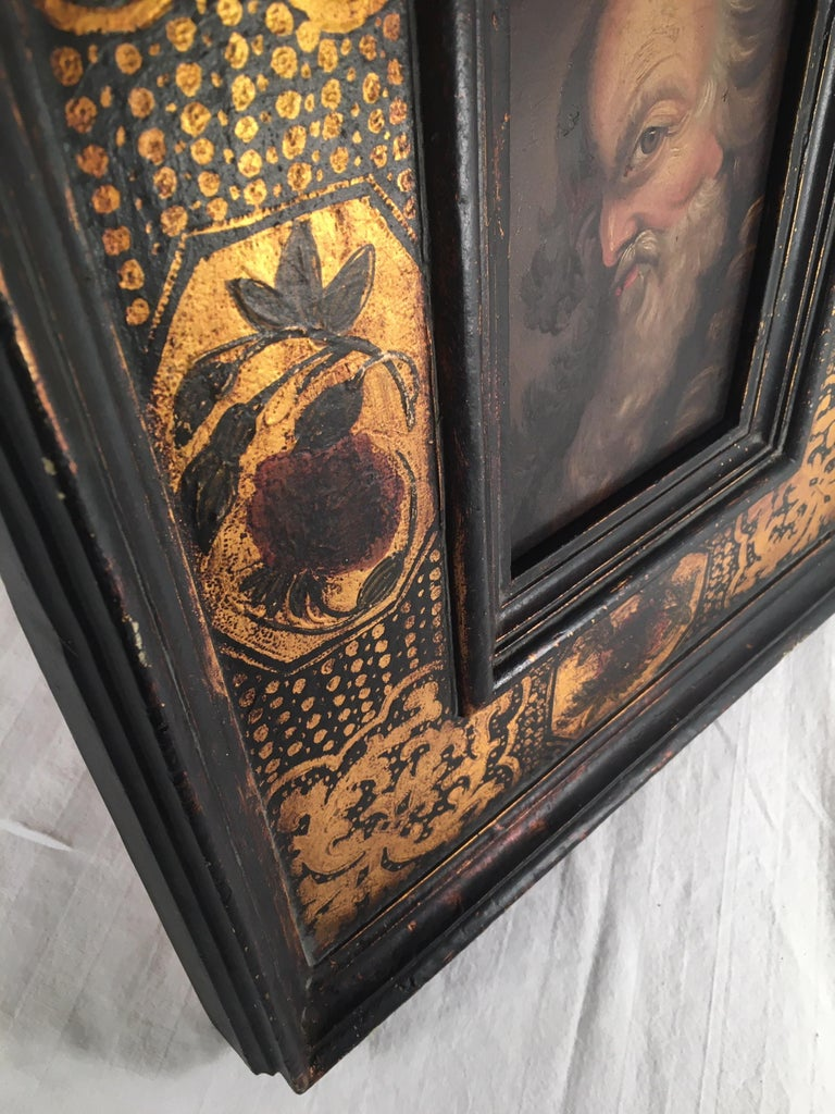 18th century old master portrait oil painting in Renaissance Revival frame.  French 18th century portrait oil painting on panel. The subject is that of a fascinating bearded old man's face with a piercing eye looking at the viewer. This masterwork