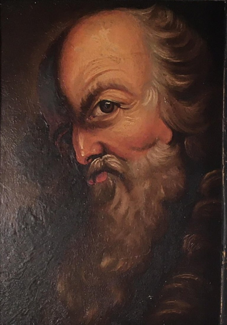 French 18th Century Old Master Portrait Oil Painting in Renaissance Revival Frame For Sale
