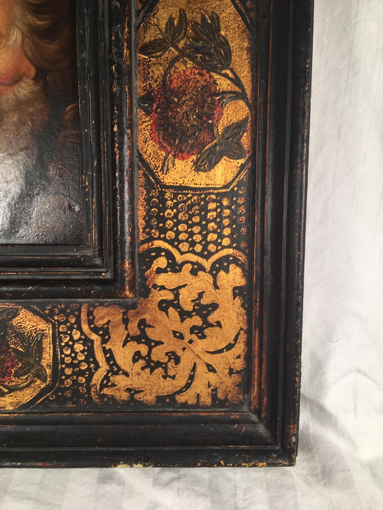 18th Century and Earlier 18th Century Old Master Portrait Oil Painting in Renaissance Revival Frame For Sale