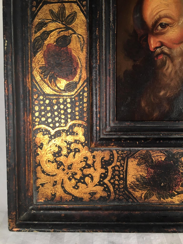 Wood 18th Century Old Master Portrait Oil Painting in Renaissance Revival Frame For Sale