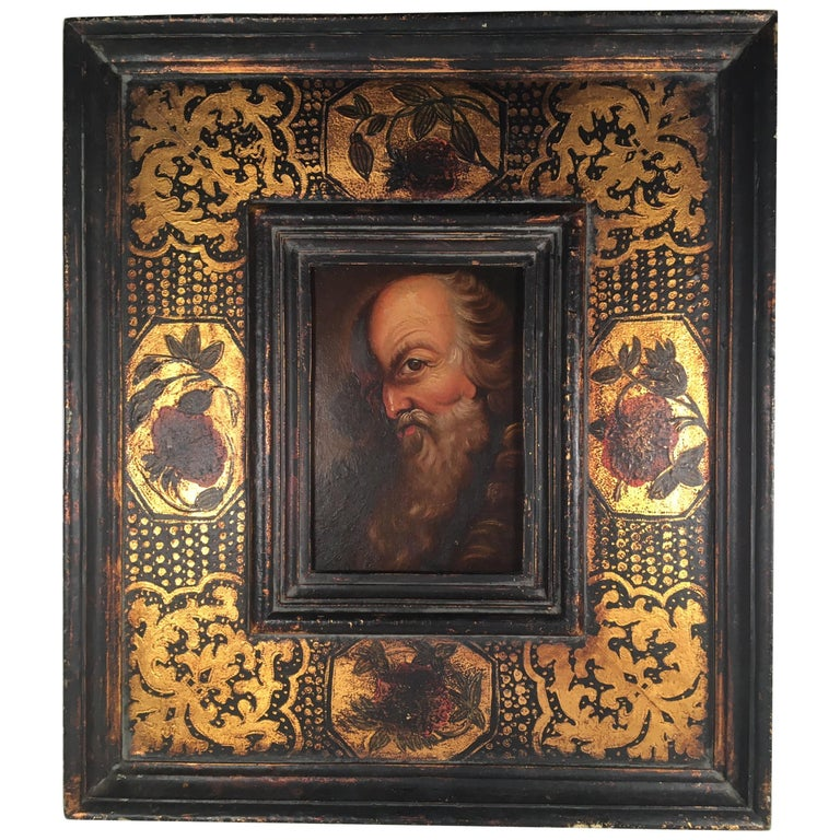 18th Century Old Master Portrait Oil Painting in Renaissance Revival Frame For Sale