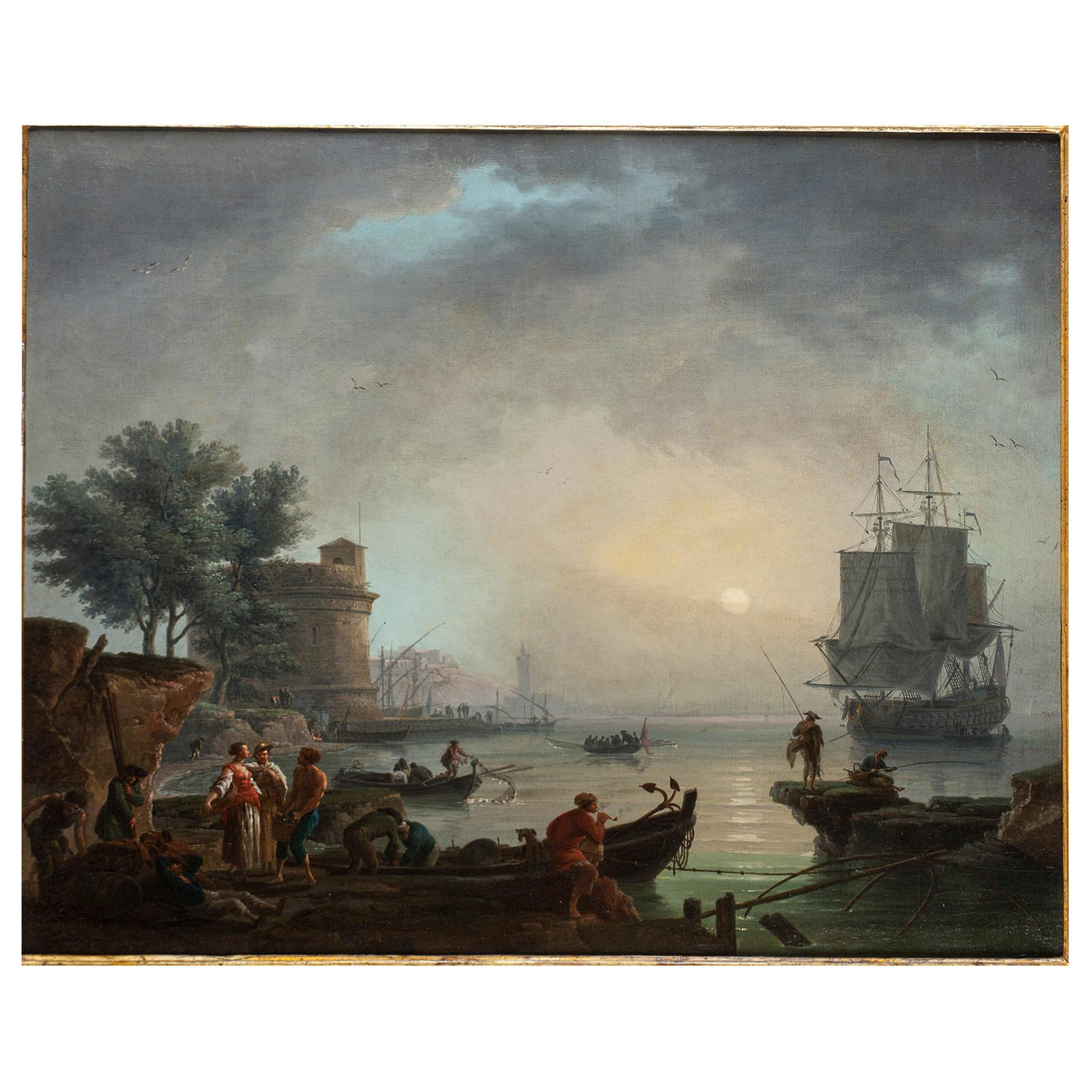 18th Century Old Masters Oil Painting Attributed to Claude Joseph Vernet, France