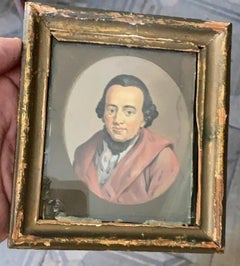 18th Century One Miniature Gouache Portraits of German Thinkers