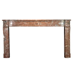 18th Century Original Extra Wide Antique Fireplace Surround in Red Marble