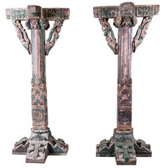 18th Century Ornate Carved and Painted Wood Indian Architectural Pillars, Pair