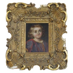 18th Century Ornate Gold Picture Frame with Portrait of Young Boy