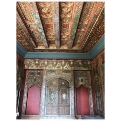 18th Century Ottoman Period Syrian Ajami Art Painted Wood Panelled Room