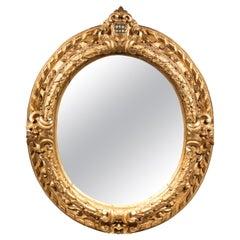 18th Century, Oval, Giltwood Mirror