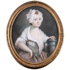 18th Century Oval Pastel Painting of a Milk Girl