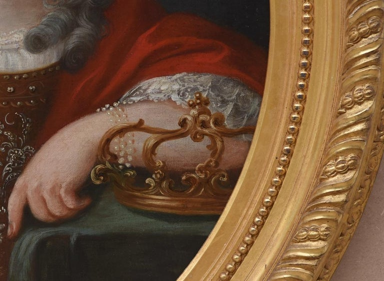 Hand-Painted 18th Century Oval Portrait Oil Canvas Regina Northern Europe Golden Frame, 1700s