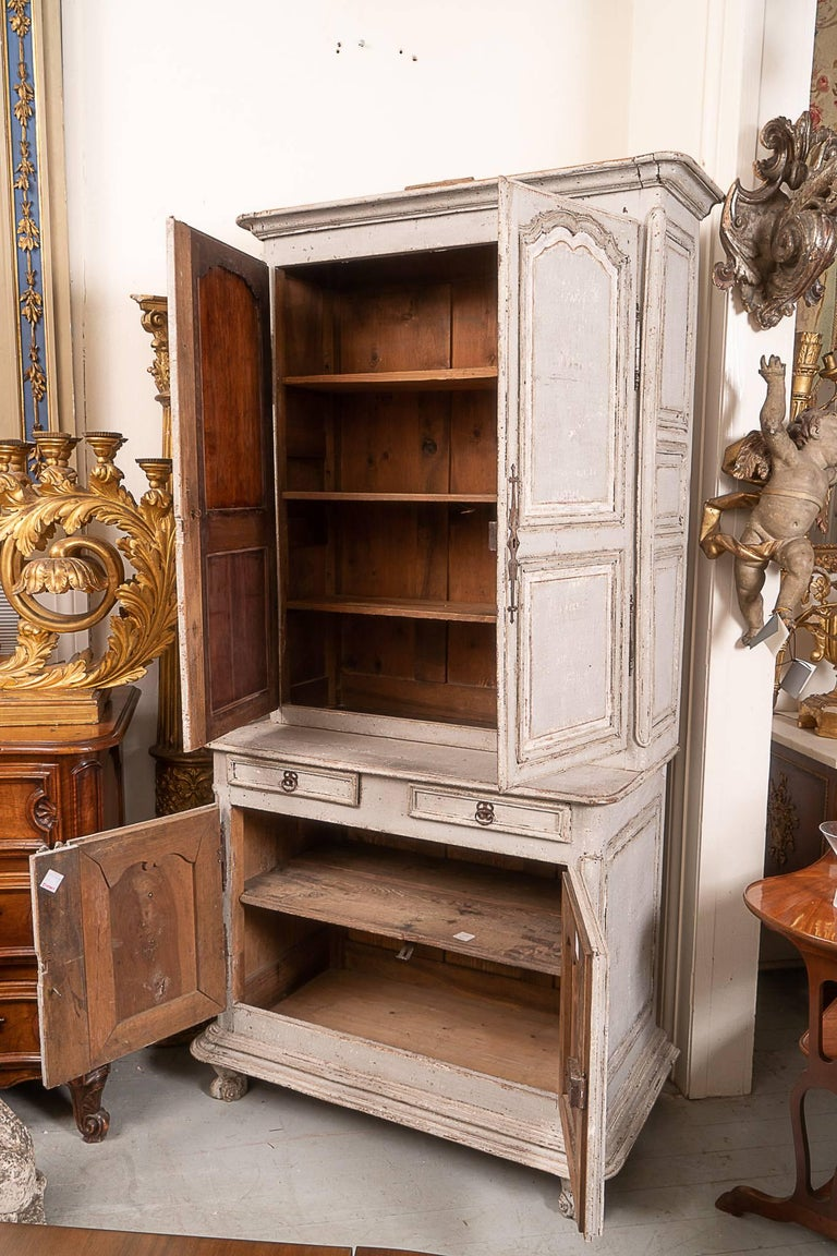 French Provincial 18th Century Painted Buffet Deux Corps For Sale