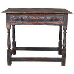 18th Century Painted English Oak Side Table
